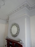 Textured Wall-papered Chimney Wall, Decorative Painted Cornice