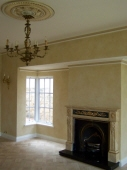 Colourwash to Walls, Gold Leaf & Colourwash to Ceiling Rose, Picked out Cornice, Marbled Fireplace